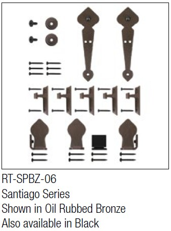 Santiago Oil Rubbed Bronze kit for round track hanging door - face mount