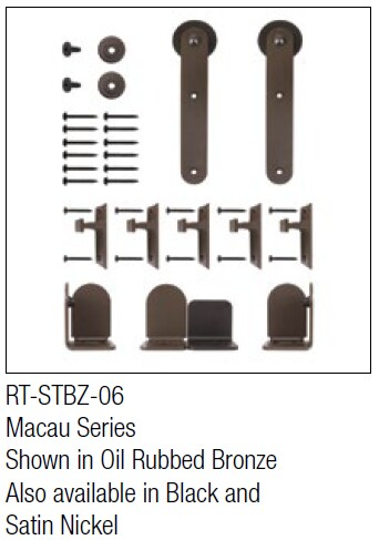 Macau Oil Rubbed Bronze kit for round track hanging door - face mount