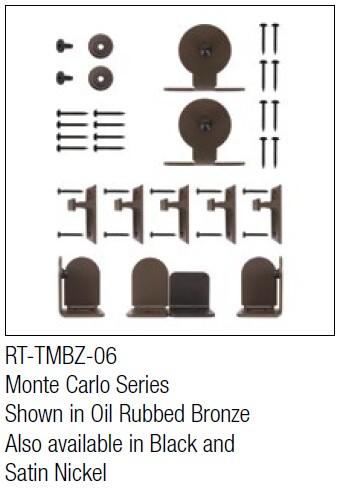 Monte Carlo Oil Rubbed Bronze kit for round track hanging door - face mount