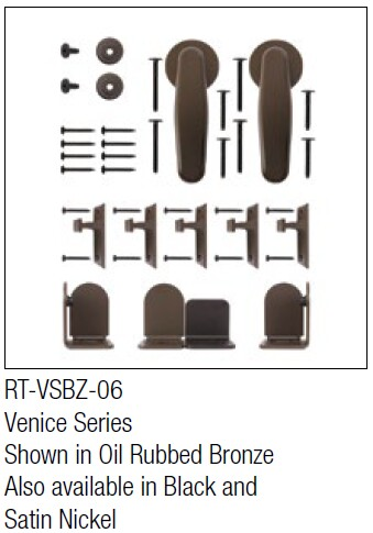 Venice Oil Rubbed Bronze kit for round track hanging door - face mount