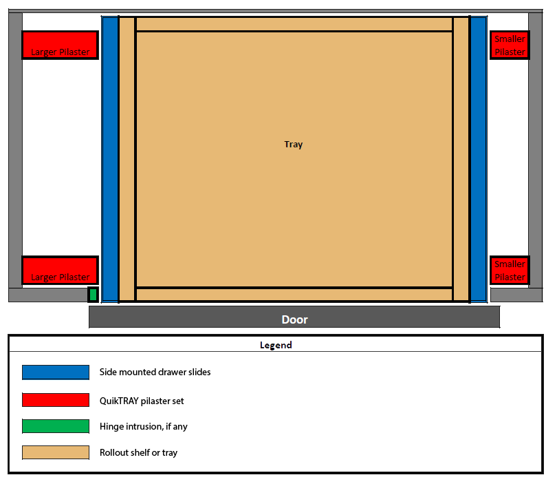 Single door cabinet with mixed QuikTRAY set