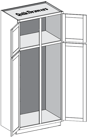 Tall pantry with 2 doors and center divider