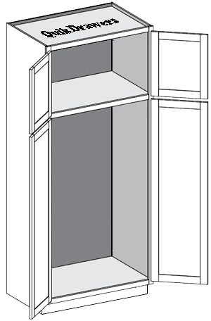 Tall pantry with 1 or 2 doors and no center divider