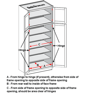 Standard double door pantry cabinet with shelves