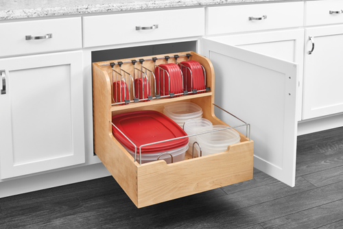 "24"" Pullout Storage container organizer enhances your kitchen beauty"