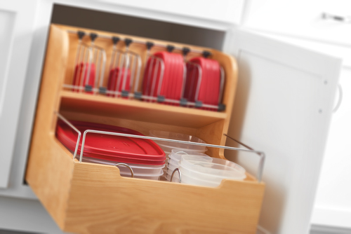 "24"" Pullout Storage container organizer will keep your containers and lids organized"