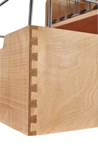 "24"" Pullout Storage container organizer has dovetail joints for strength & beauty"