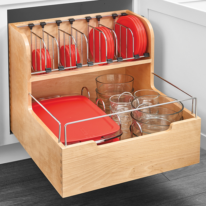"24"" Pullout Storage container organizer has separate storage for containers and lids"