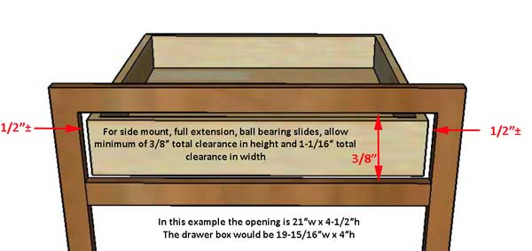 How to size drawer for use with side mounted, full extension, ball bearing drawer slides