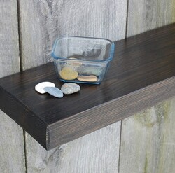Stained Wood Floating Shelves