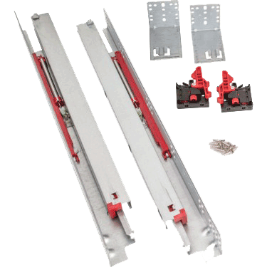 Soft-close, concealed, full extension drawer slide kit